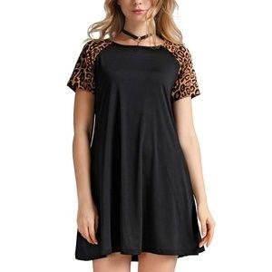 Women's Leopard Print Tunic Dress Tee Shirt